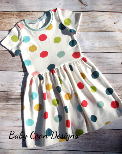 Custom size Organic Cotton Knit Party Dress - Multi Dots