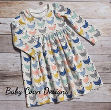 Custom size Organic Cotton Knit Play Dress - Chickens