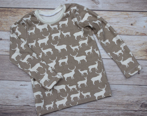 Custom size Basic Tee - Deer Family in Tan
