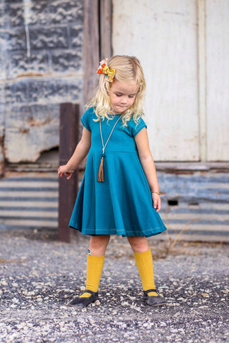Infinity Dress - Teal - Organic Cotton Knit, sizes 9/12 months to 6 years