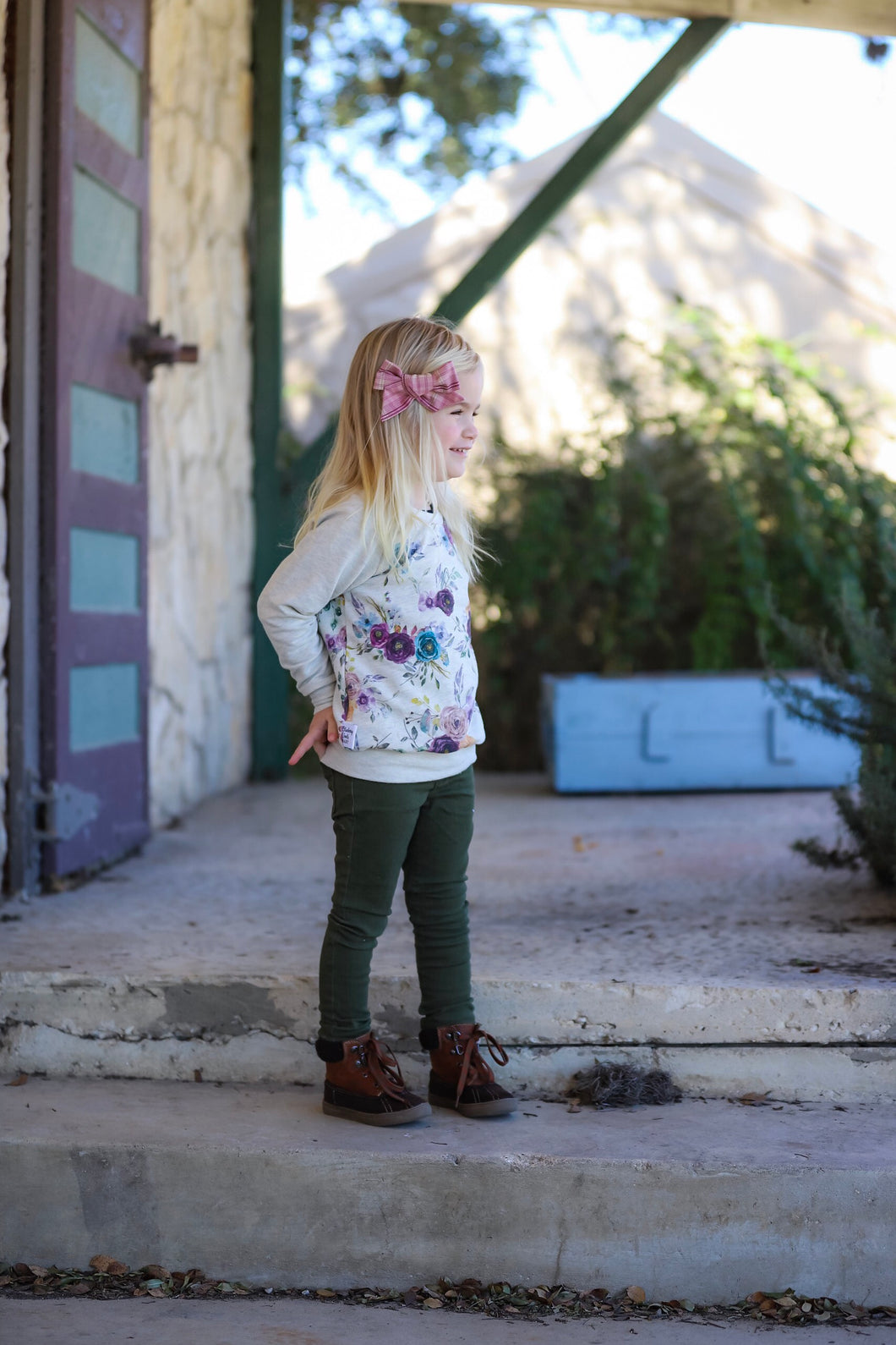 Wide neck Sweatshirt - Fall Flowers, sizes newborn to 5T/6