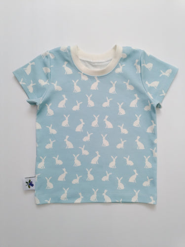 Organic Cotton Tee - Cottontail on Bluebell, sizes newborn to 5T/6
