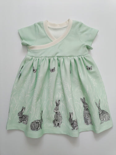 Organic Cotton Knit Cross-front Dress - Bunny Trails on Mint, size 12 months - 6/7