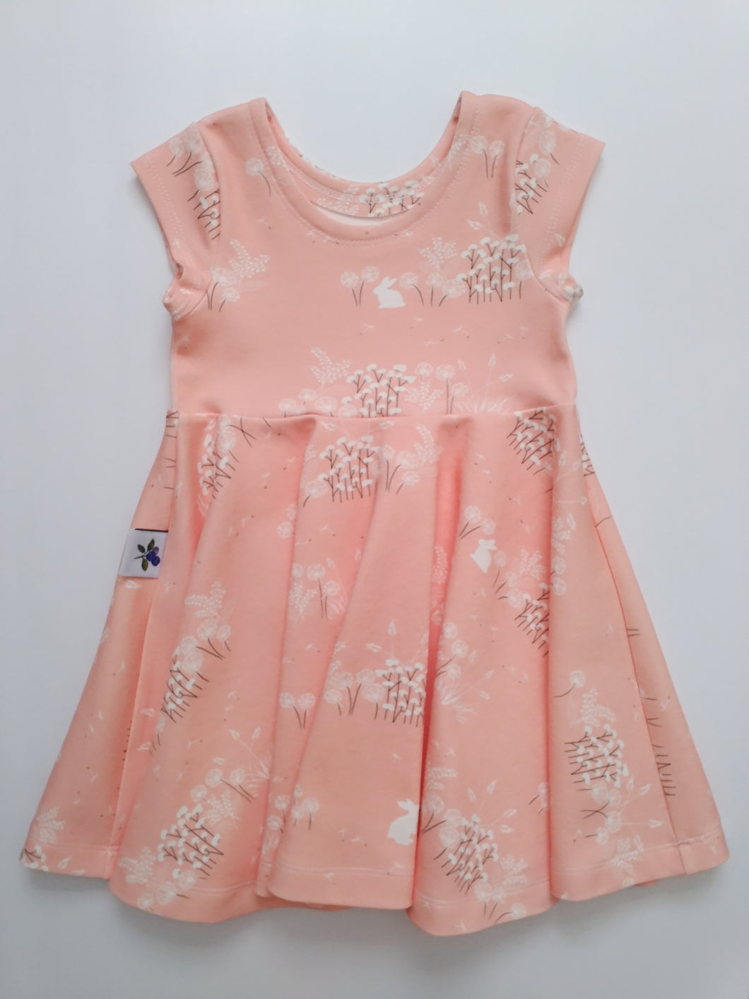 Infinity Dress - Bunny's Day in Peach - Organic Cotton Knit, sizes 9/12 months - 6 years