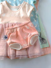 Infinity Peplum with Tulle - Bunny's Day on Shell - Organic Cotton Knit, sizes 12 months to 6 years