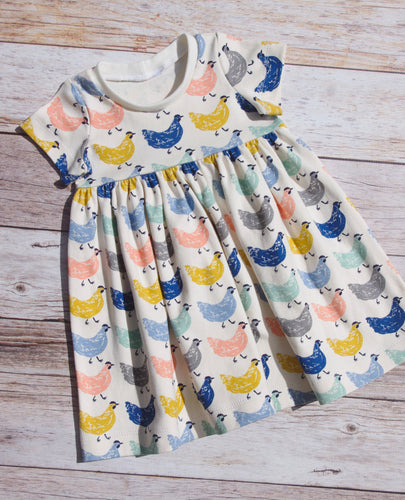 Organic Cotton Knit Play Dress - Chickens, sizes 12 months - 6/7