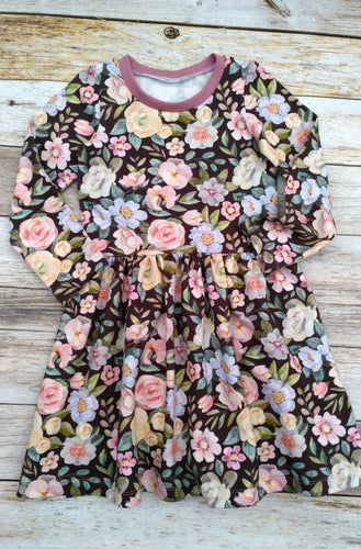 Party Dress in Organic French Terry Knit - Chocolate Blossom