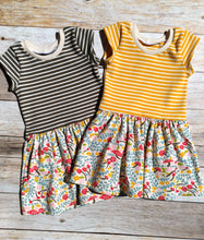 Cotton Knit Drop Waist Dress - Mushroom Keep - Sunny Stripes, 6/9 months to 6 years