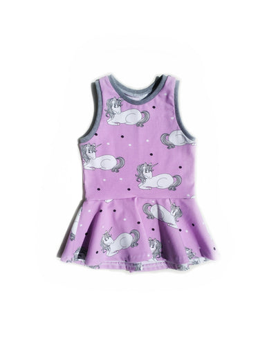 Carefree Peplum Top - Unicorns on Lilac, sizes 2T - 8