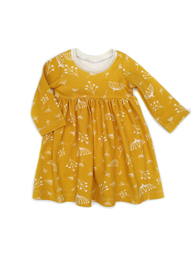Gathered Dress - Yellow Twigs - Organic Cotton Knit, sizes 9/12 months to 6 years