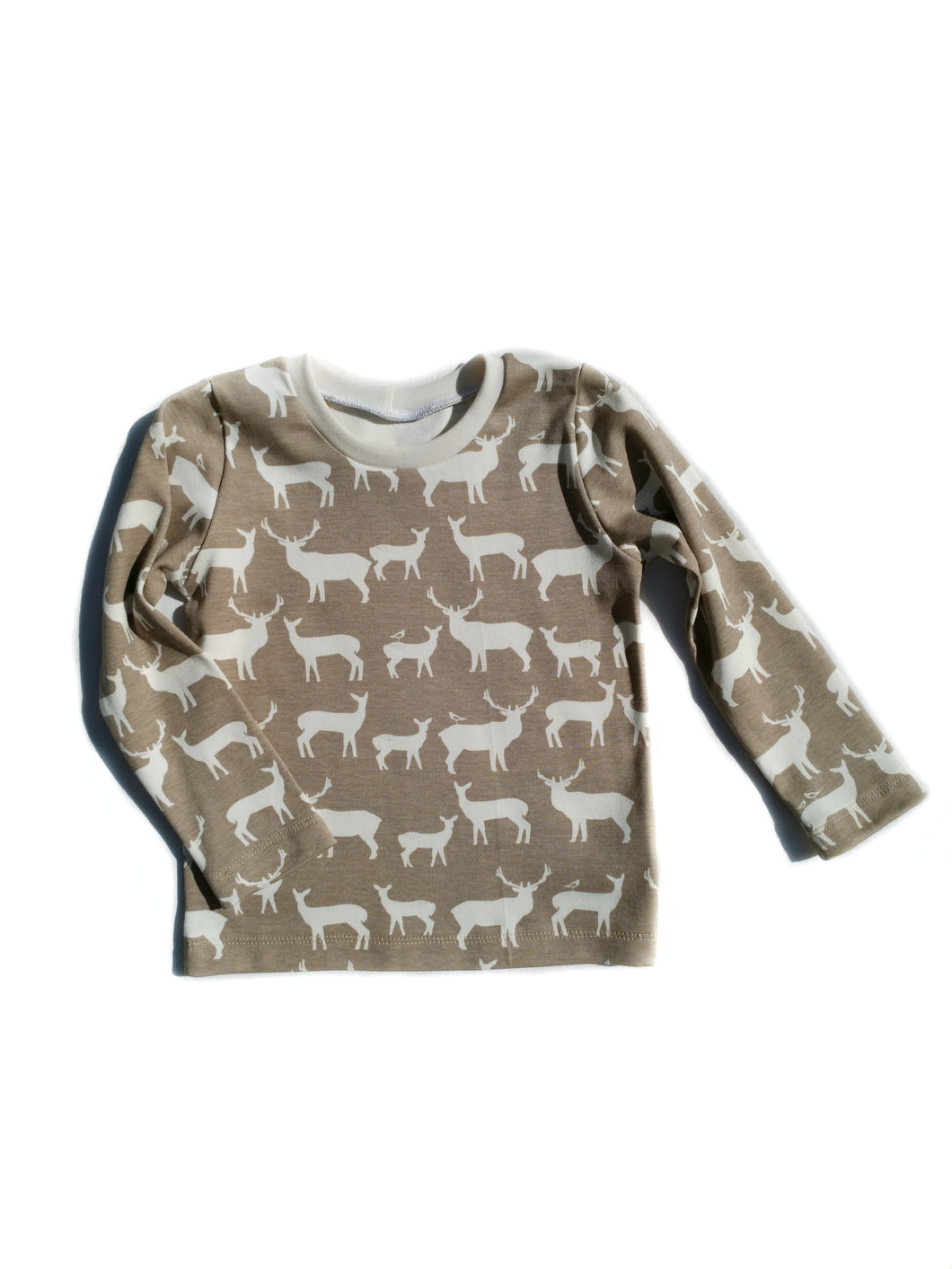 Basic Tee - Deer Family in Tan, sizes newborn to 5T/6