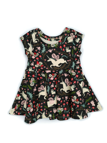 Infinity Peplum - Enchanted Unicorns on dusk - Organic Cotton Knit, sizes 12 months to 8 years