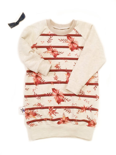 Sweatshirt Dress - Flowers and Stripes, sizes 6/9 months to 5T/6