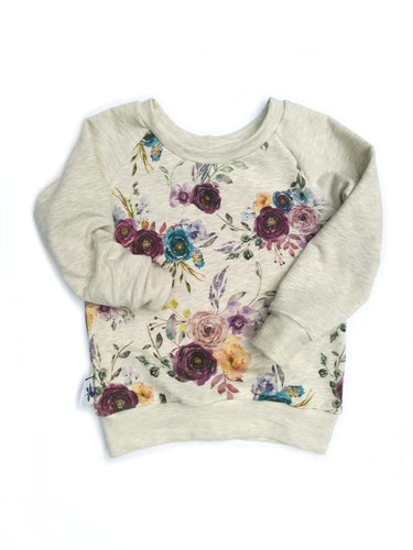 Wide neck Sweatshirt - Fall Flowers, sizes 6 months to 5T/6