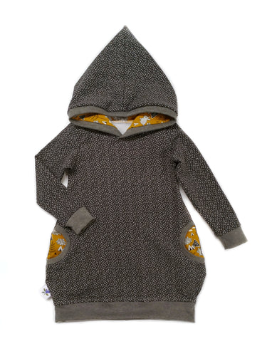 Hooded Tunic - Dark Grey Snow - size 18-24 months