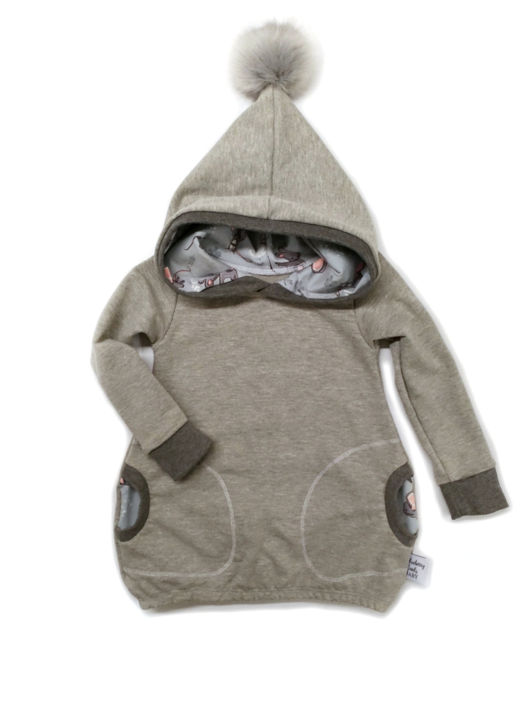 Hooded Tunic - Grey Mouse - size 12-18 months