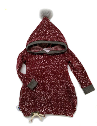 Hooded Tunic - Burgundy Snow - size 12-18 months