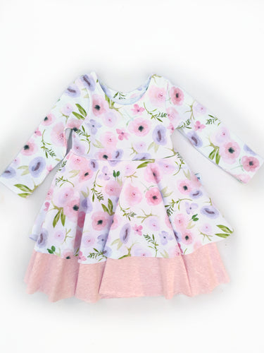 PREORDER Infinity Peplum Dress - Pink and Purple Roses - Cotton Knit, sizes 9/12 months to 6 years