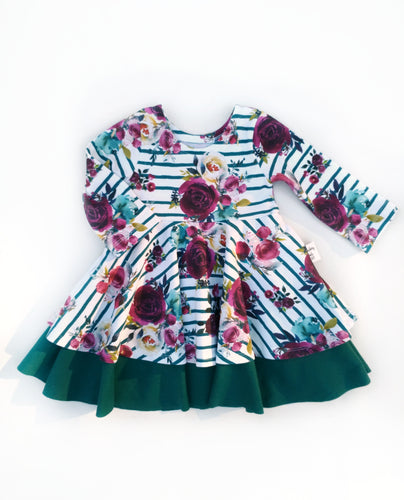 PREORDER Infinity Peplum Dress - Burgundy and Teal Roses - Cotton Knit, sizes 9/12 months to 6 years