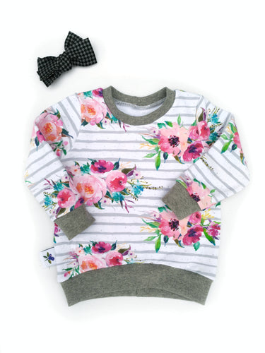 Hi-low Sweatshirt -  Roses, sizes newborn to 5T/6