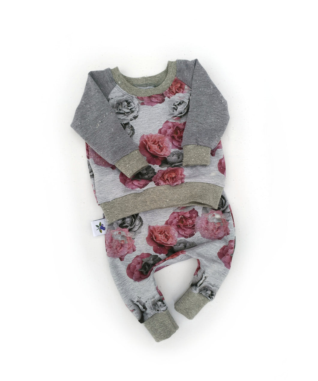 Harem Pants and Sweatshirt Set -  Roses, sizes newborn to 9/12 months