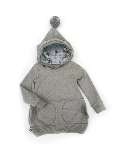 Hooded Tunic - Grey Mouse - size 2T/3T