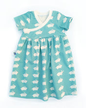 Organic Cotton Knit Cross-front Dress - Bunnies on Blue, size 12 months - 6/7