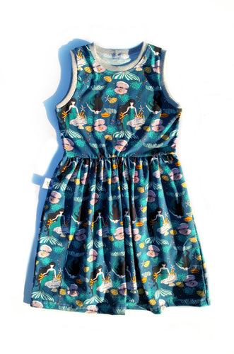 Soleil Dress - Mermaids, in Euro Organic cotton/lycra, size 8