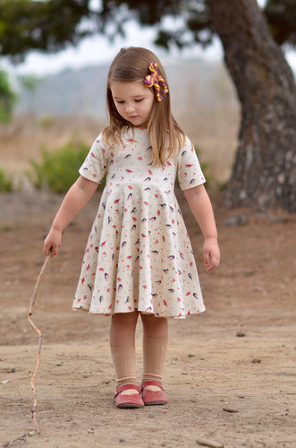 Infinity Dress - Love Birds - Organic Cotton Knit, sizes 9/12 months to 6 years