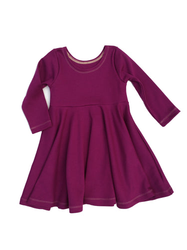 Infinity Dress - Dark Plum - Organic Cotton Knit, sizes 9/12 months to 6 years