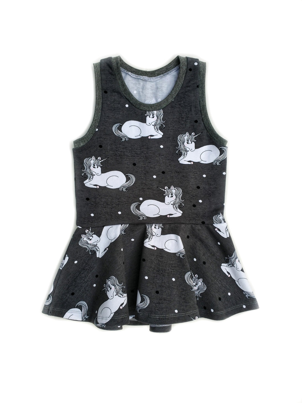 Carefree Peplum Top - Unicorns on Grey, sizes 2T - 8