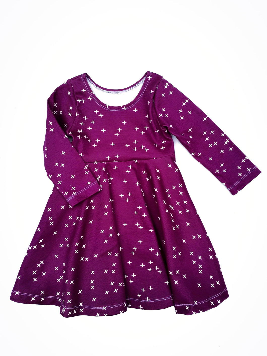 Infinity Dress - Wink on Plum - Organic Cotton Knit, sizes 9/12 months to 6 years