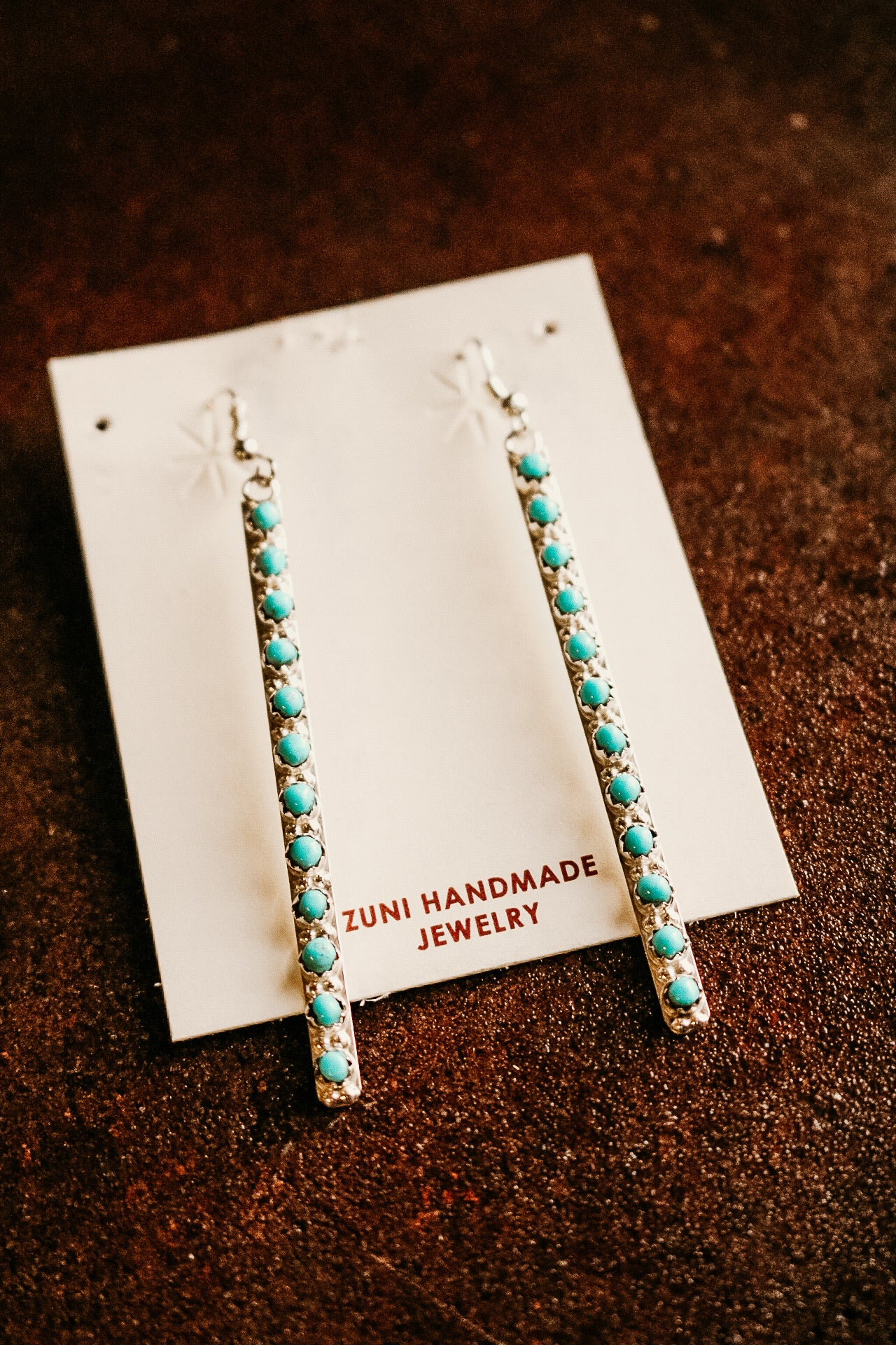 Long Turquoise Studded Earrings