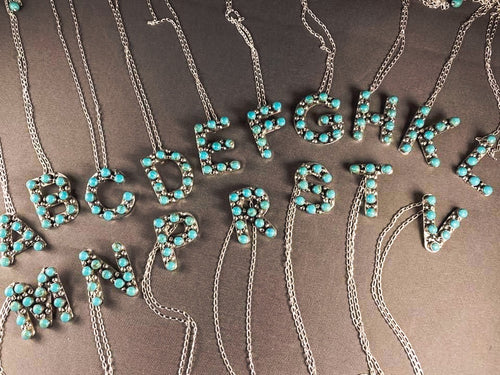 Turquoise Initial Necklace-PREORDER