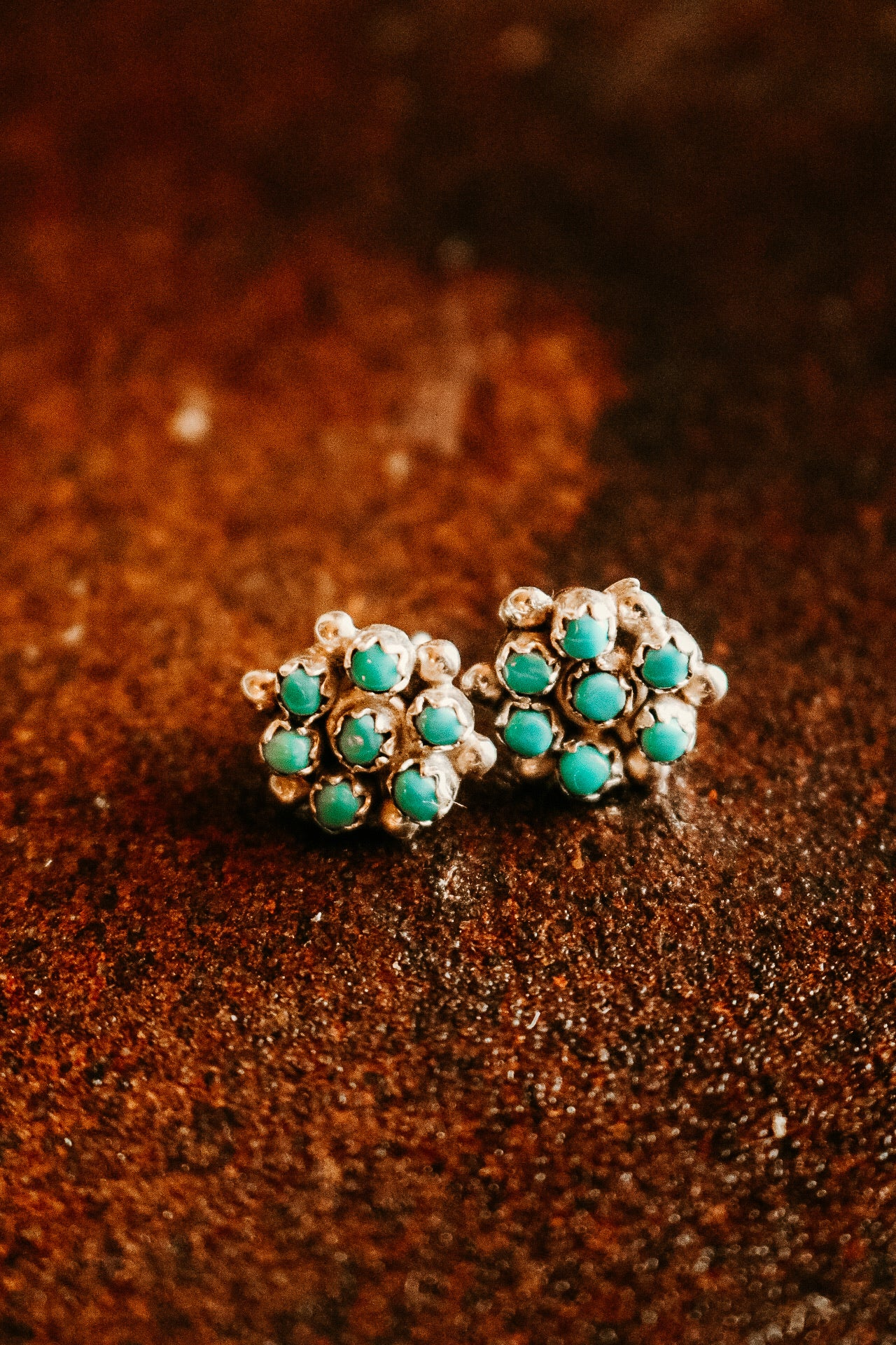 Small Turquoise Cluster Stud