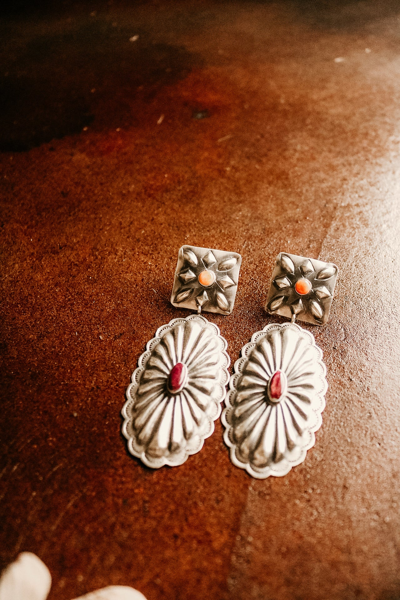 Spiny Oyster Concho Earrings