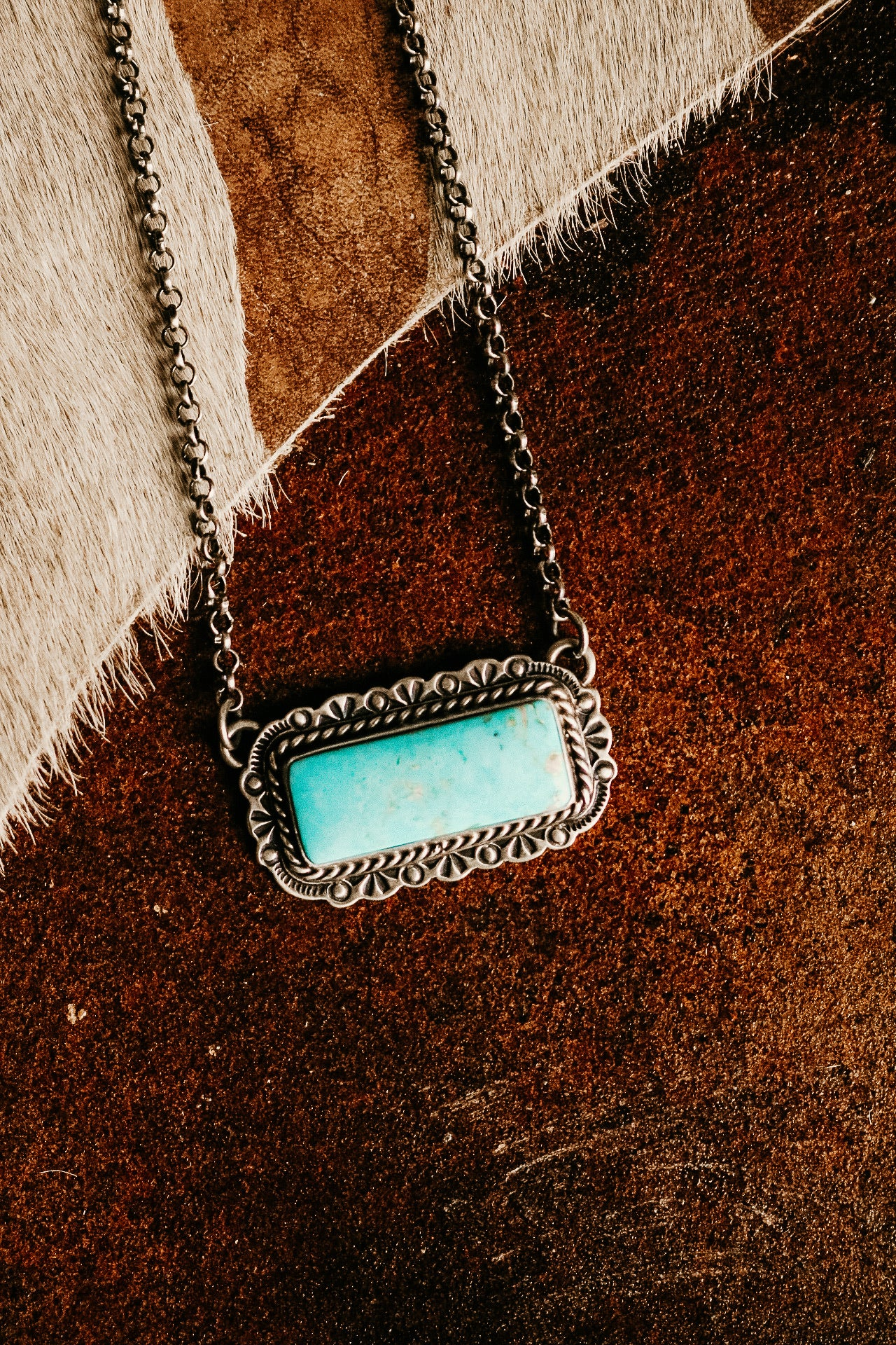 Stamped Border Turquoise Bar Necklace