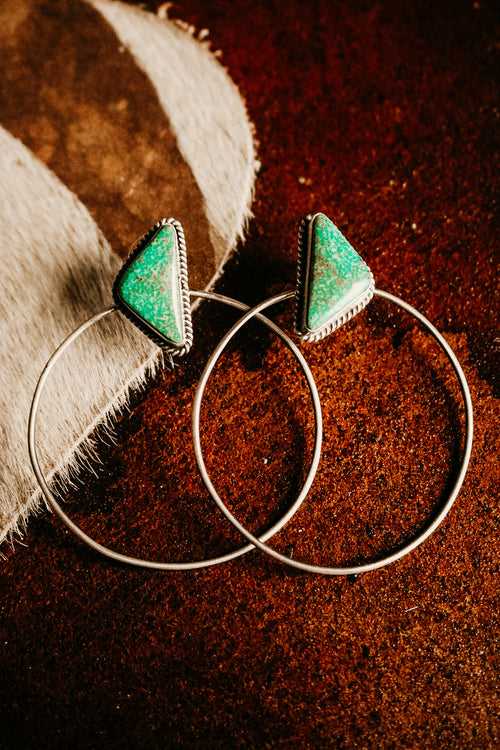 Turquoise Triangle Post Hoop