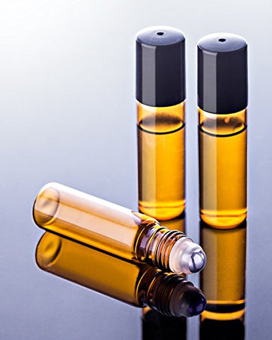 Roller Bottle 10ml Amber Glass with black lid