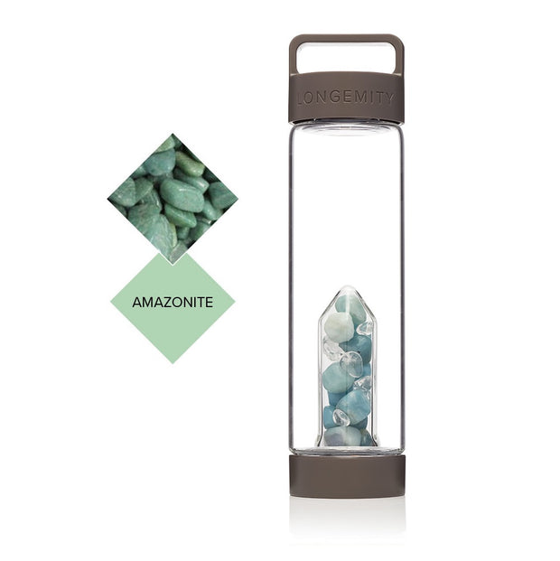 HARMONY Crystal Infused Water Bottle - Amazonite & CLEAR QUARTZ