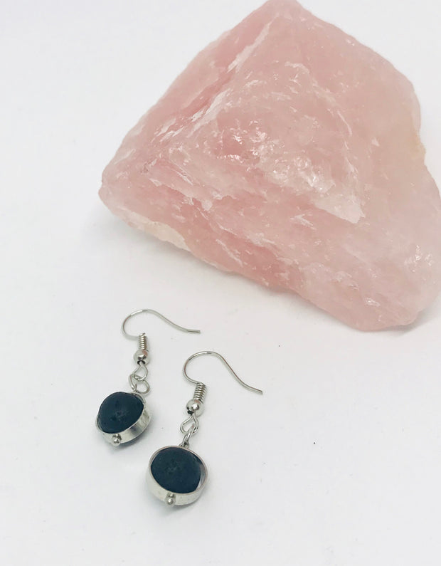 Silver Lava Bead Aromatherapy Earrings