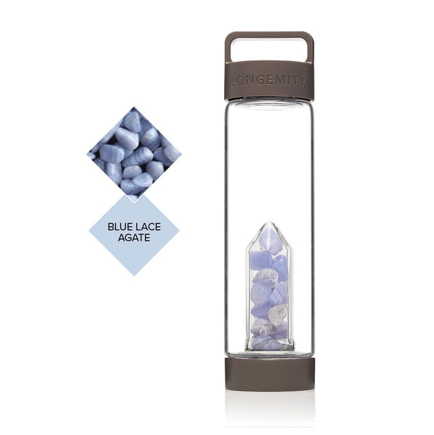 TRANQUILITY Crystal Infused Water Bottle - BLUE LACE AGATE & CLEAR QUARTZ