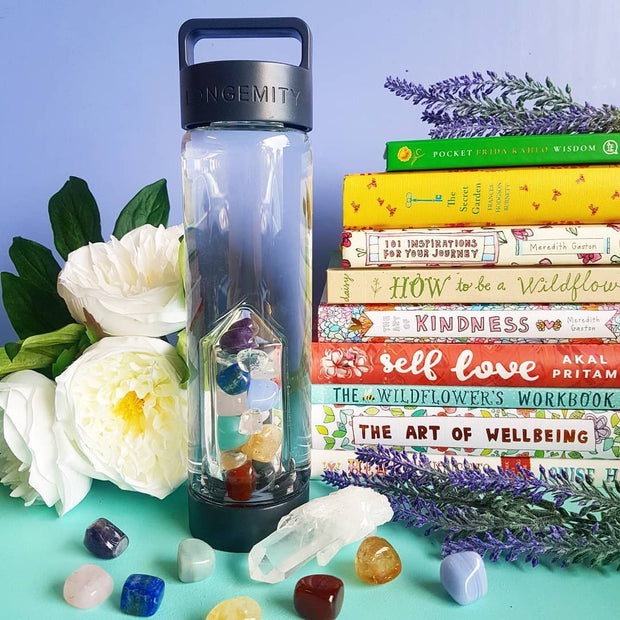 THE SEVEN JEWELS Crystal Infused Water Bottle - CHAKRA 7 BLEND