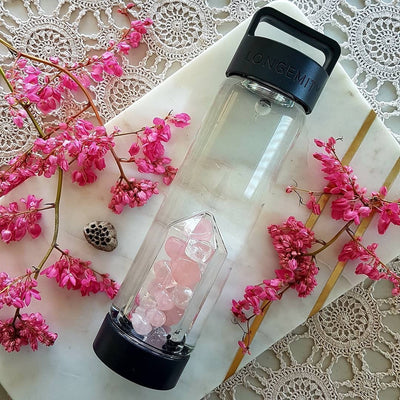 DEVOTION Crystal Infused Water Bottle - ROSE QUARTZ & CLEAR QUARTZ