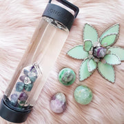 ROCKSTAR Crystal Infused Water Bottle - FLUORITE & CLEAR QUARTZ