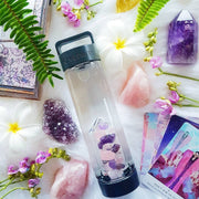 LUMINESCENCE Crystal Infused Water Bottle - ROSE QUARTZ & AMETHYST