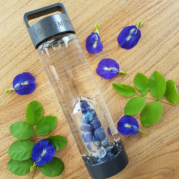 ENLIGHTENMENT Crystal Infused Water Bottle - LAPIS LAZULI & CLEAR QUARTZ
