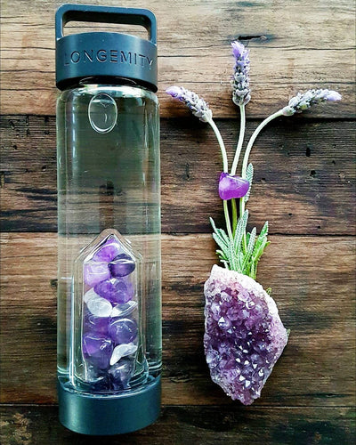 ASPIRATIONS Crystal Infused Water Bottle - AMETHYST & CLEAR QUARTZ