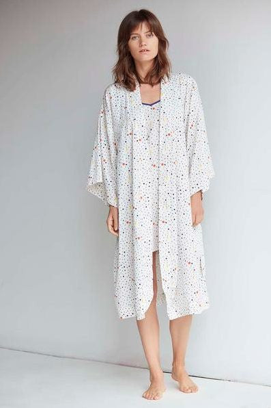 GOTS certified organic cotton robe in white print