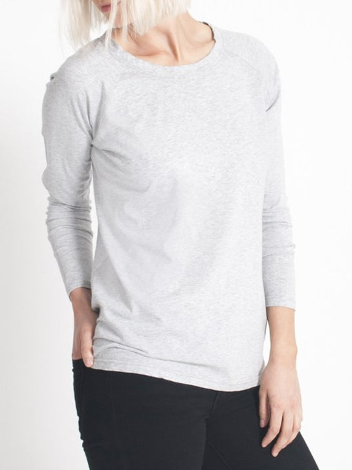 organic cotton long sleeve relaxed fit top in grey